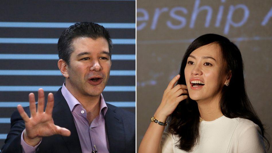 Verbund: Uber-Vormann Travis Kalanick, Didi-Chefin Jean Liu