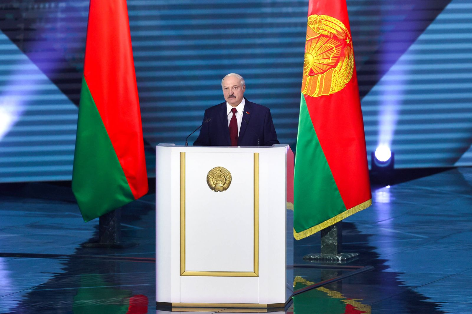 MINSK, BELARUS - AUGUST 4, 2020: President Alexander Lukashenko delivers his annual address to the Belarusian people an