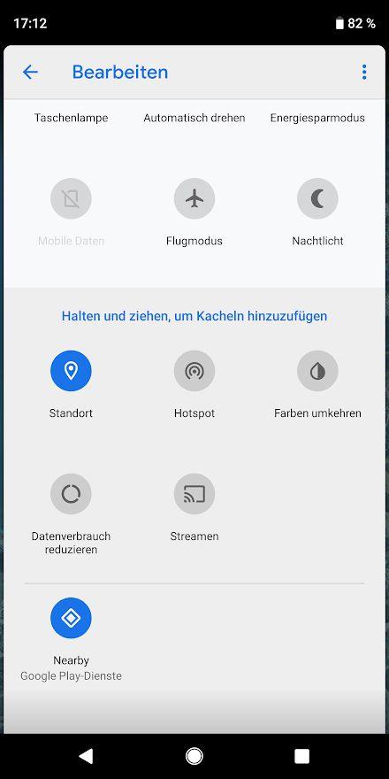 NUR ALS ZITAT Screenshot Android-Tipps/ Schnelleinstellungen