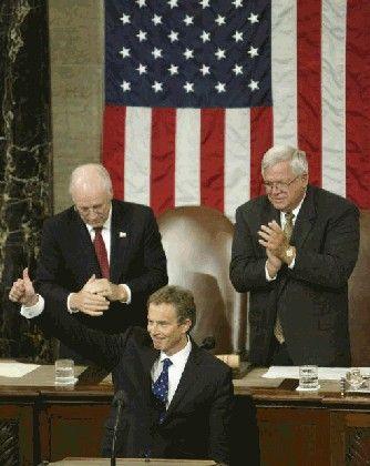 Standing Ovations: Blair vor dem US-Kongress