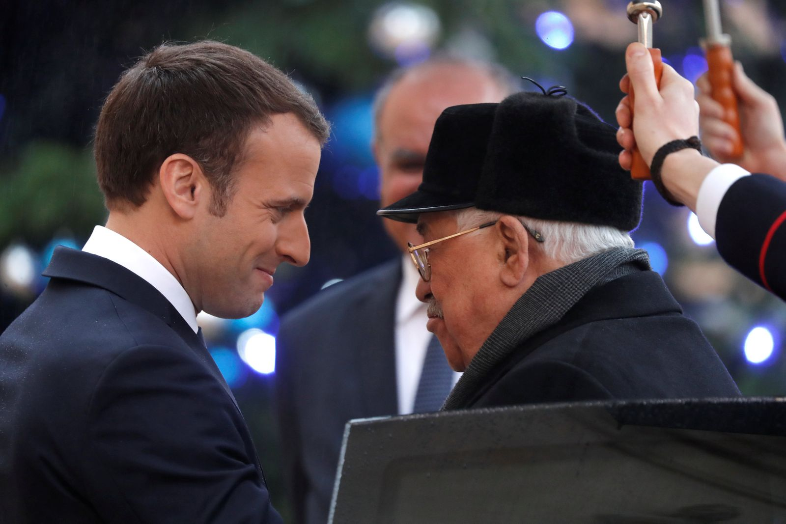 French President Macron welcomes Palestinian President Abbas at the Elysee Palace in Paris