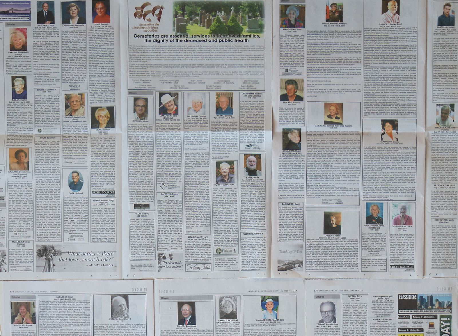 Montreal newspaper contains seven pages of obituaries in Montreal