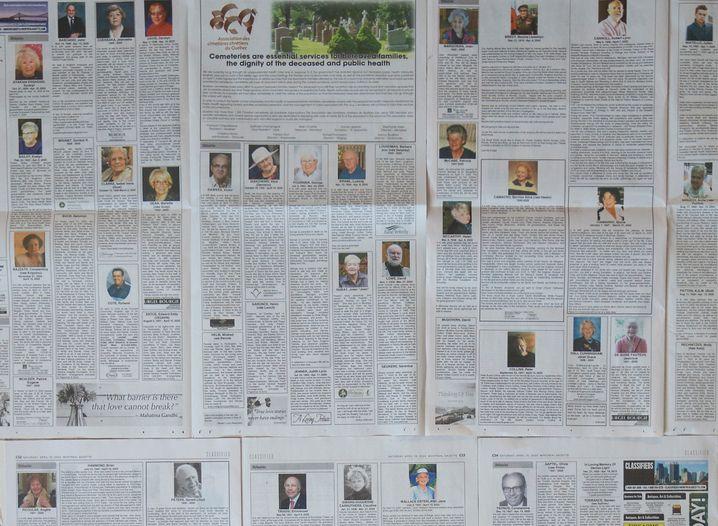 """""""Ultimative investigative Berichte"""": Corona-Nachrufe in der kanadischen """"Montreal Gazette""""."""
