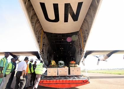 The coffins of eight United Nations Guatemalan peacekeepers who were killed 23 January in the Democratic Republic of Congo.