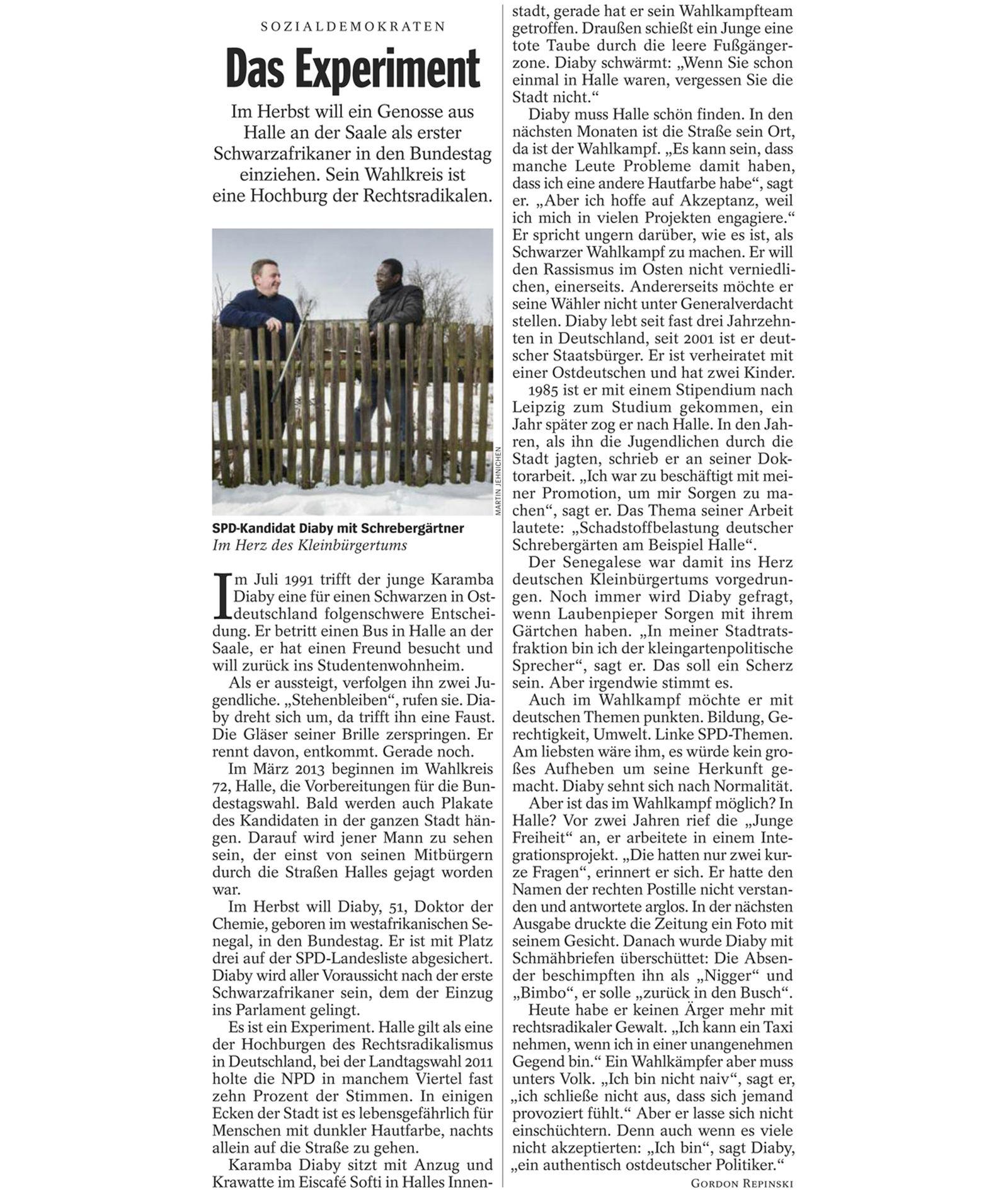 EINMALIGE VERWENDUNG SPIEGEL 14/2013 S. 24 Karamba Diaby