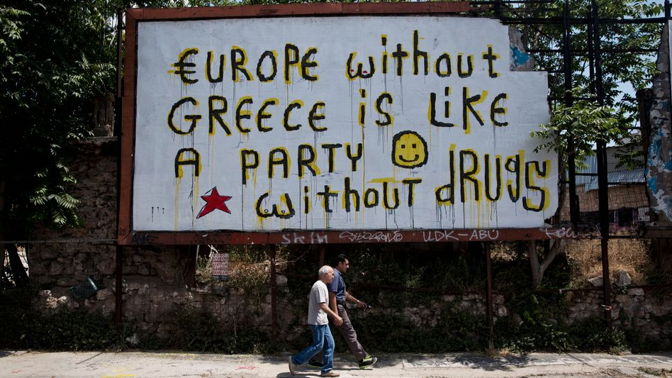 """Graffiti in Athen: """"Europa ohne Griechenland ist wie eine Party ohne Drogen"""""""