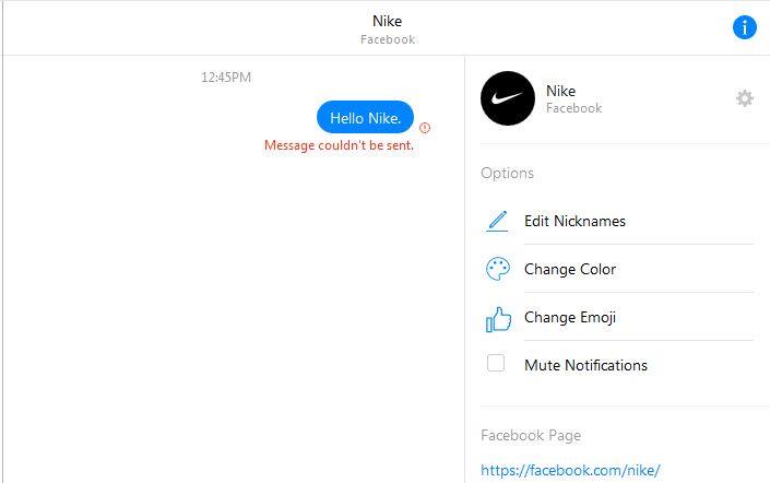 Chatversuch mit Nike