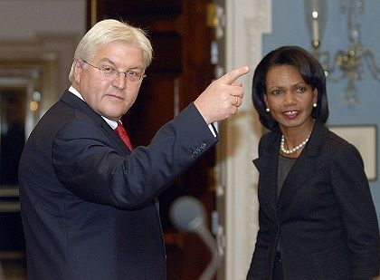 German Foreign Minister Frank-Walter Steinmeier in Washington during a versit with Secretary of State Condoleezza Rice.