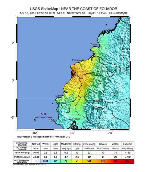 Epizentrum des Erdbebens an der Küste Ecuadors.