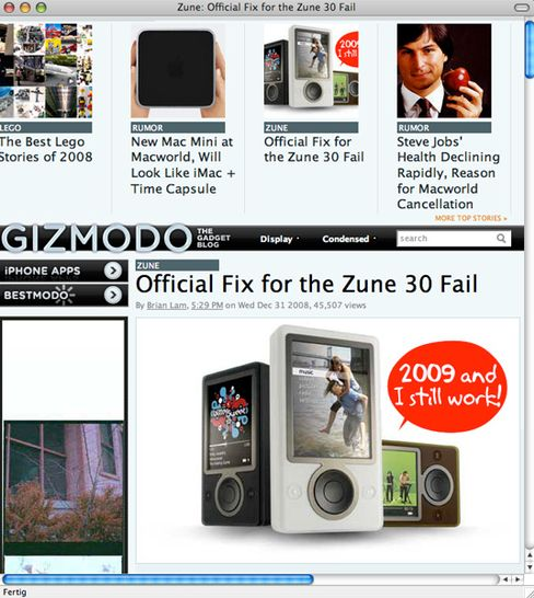 "Screenshot aus dem Tech-Blog ""Gizmodo"": Häme und Hohn"