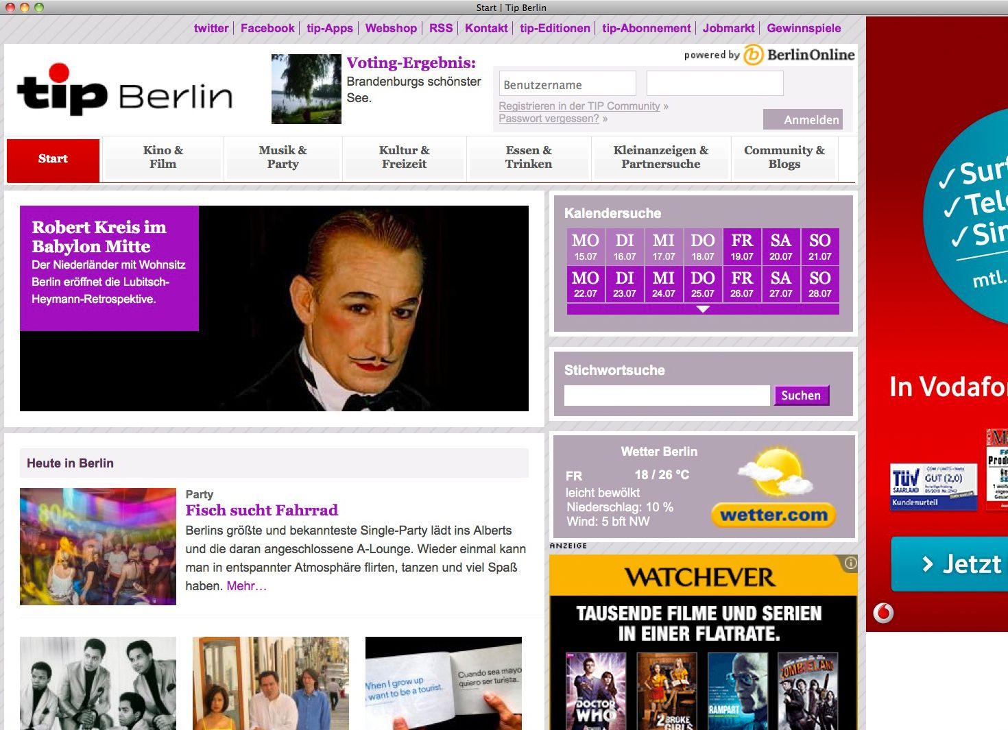 EINMALIGE VERWENDUNG Tip Berlin/ Stadtmagazin SCREENSHOT