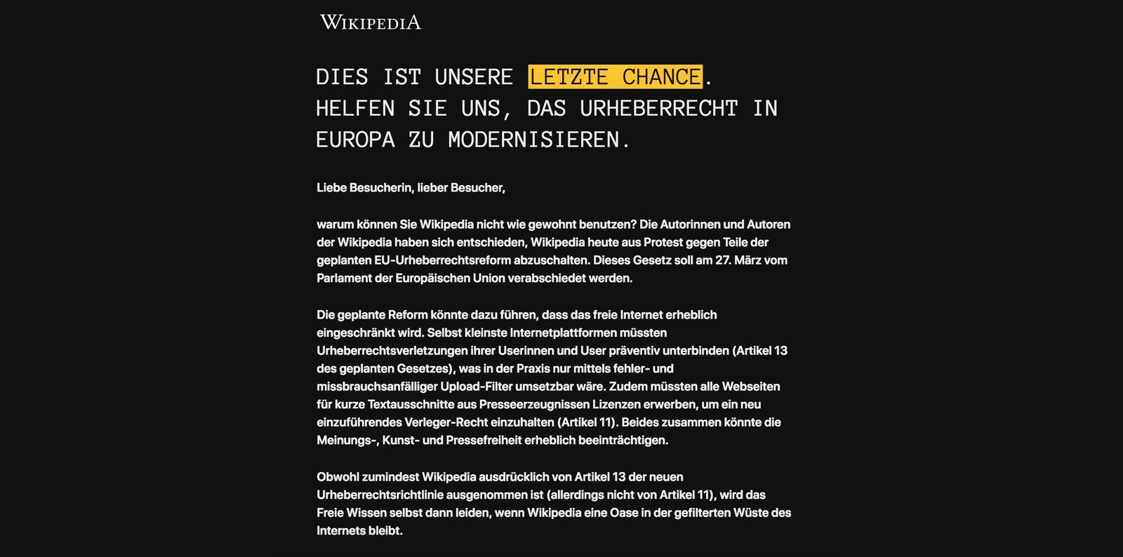 EINMALIGE VERWENDUNG NUR ALS ZITAT Screenshot Wikipedia / offline