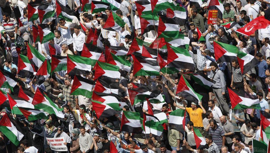 """Demonstranten mit palästinensischen Flaggen in Istanbul: """"Verflucht sei Israel!"""""""