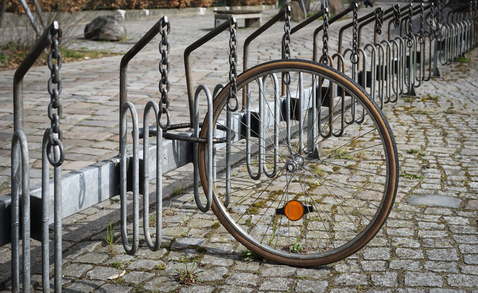 Remains Of Stolen Bicycle On Rack