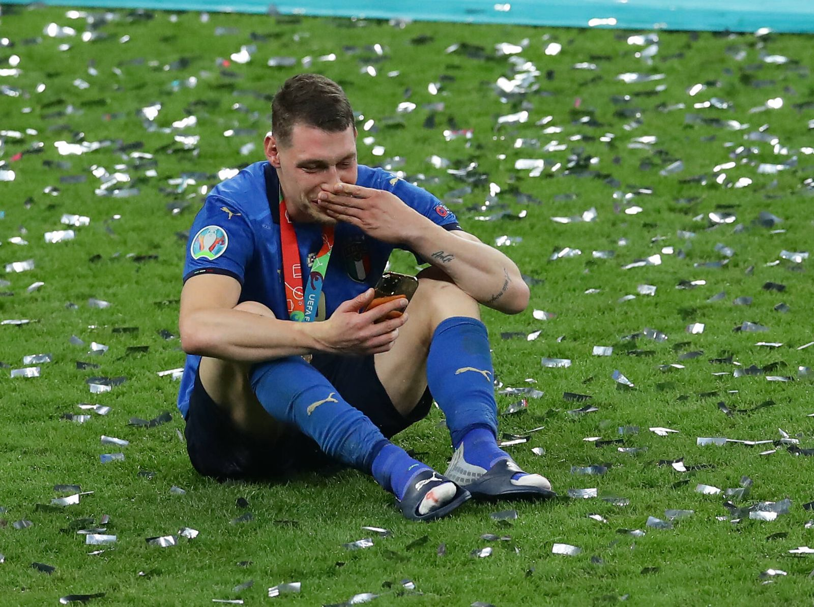 London, England, 11th July 2021. Andrea Belotti of Italy cries while making a phone call during the UEFA EURO, EM, Europ