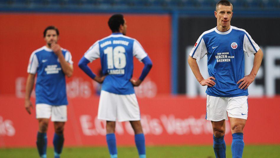 Rostock-Profi Mintal (r.): Es hat wieder nicht zum Sieg gereicht