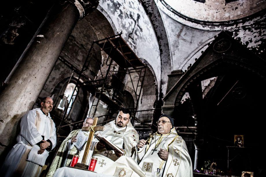 Messe in einer zerstörten Kirche, März 2017: Die Hälfte der christlichen Bewohner hat den Irak verlassen