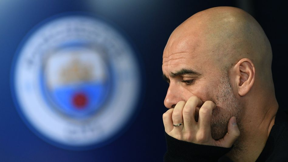 Manchesters Trainer Pep Guardiola