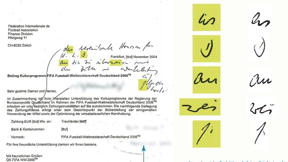 """Dokument mit handschriftlichen Notizen: """"Das vereinbarte Honorar für H.L.D. an Sie zu überweisen..."""""""