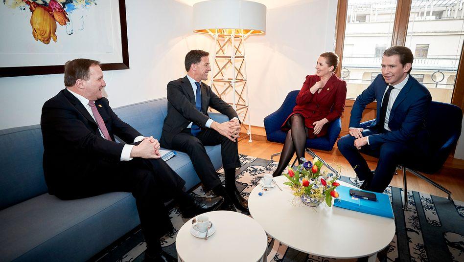 Stefan Löfven (Schweden), Mark Rutte (Niederlande), Mette Frederiksen (Dänemark) und Sebastian Kurz (Österreich)