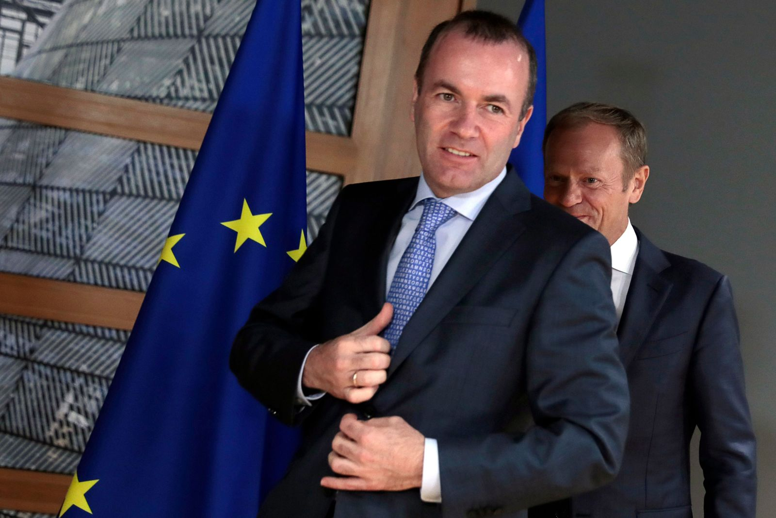 Manfred Weber und Donald Tusk BELGIUM-EU-POLITICS