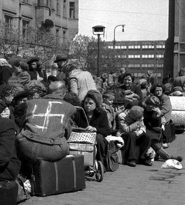 Sudeten Germans await their expulsion to Germany in Prague in 1945.