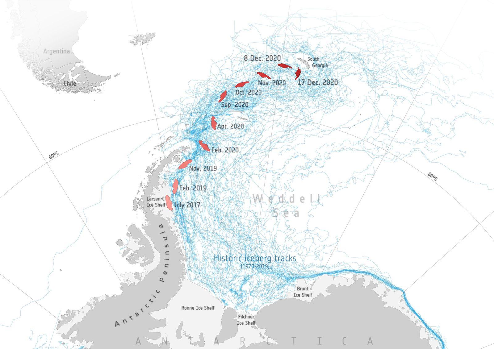 A-68A iceberg loses chunk of ice, Antarctica - 19 Dec 2020