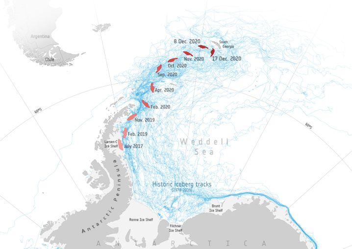 Tracking der Esa: Der Koloss folgt Strömungen, die immer wieder Eisberge nach Südgeorgien tragen