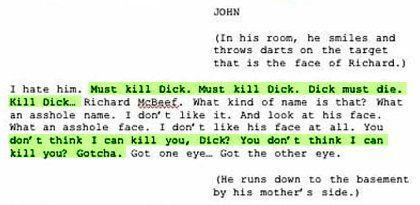 "Ausriss aus Chos Stück ""Richard McBeef"": ""Must kill Dick. Dick must die."""