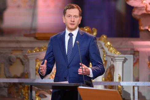 Michael Ketschmer während einer Weihnachtsansprache in der Frauenkirche in Dresden