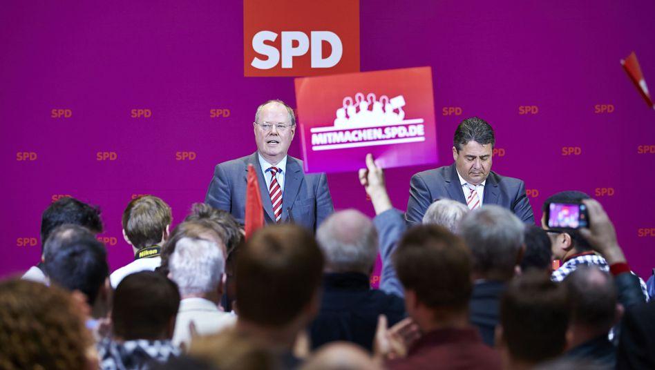 Kanzlerkandidat Steinbrück, SPD-Chef Gabriel: Noch hoffen sie auf Rot-Grün