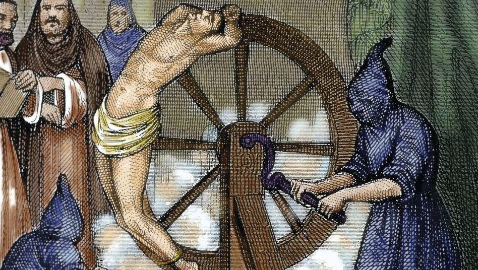 Mittelalterliche Foltermethode (kolorierter Stich)