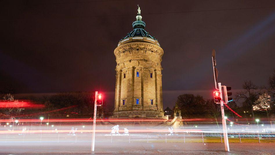 Der Wasserturm in der Mannheimer Innenstadt
