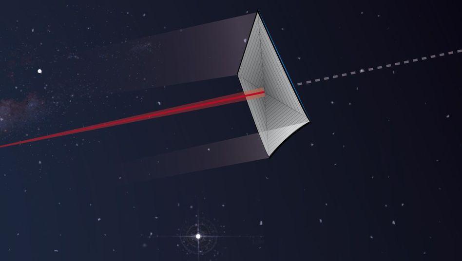 Laserstrahl überträgt Impuls auf riesigen Reflektor