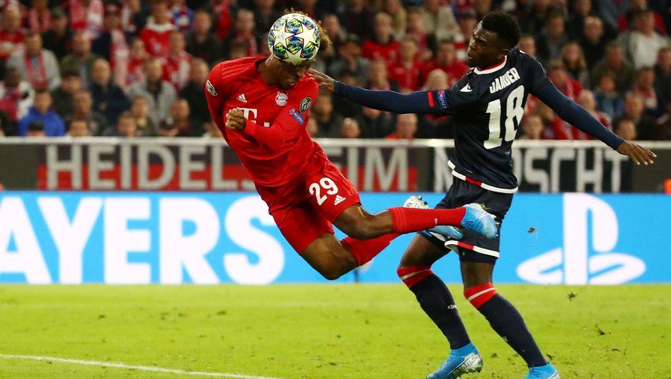 Kingsley Coman (links) köpfte das 1:0 des FC Bayern gegen Roter Stern