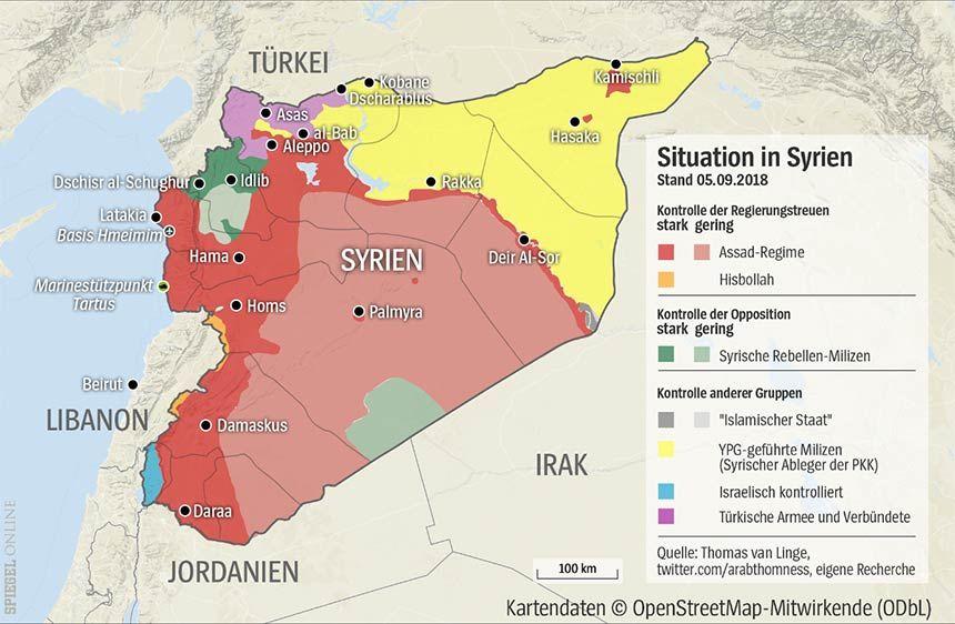 Grafik Karte Syrien - Stand 05.09.2018