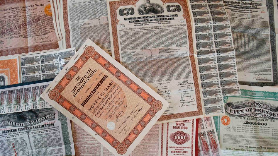 Nobody is quite sure what these bonds, issued by the Weimar Republic in the 1920s, might be worth today.