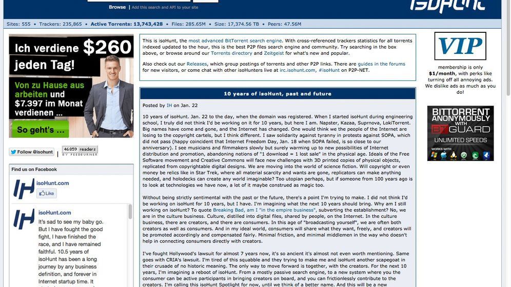 Illegale Kopien: Torrent-Suchseite Isohunt knickt ein