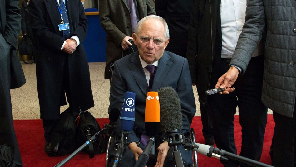 German Finance Minister Wolfgang Schäuble at a finance ministers' meeting in Brussels.