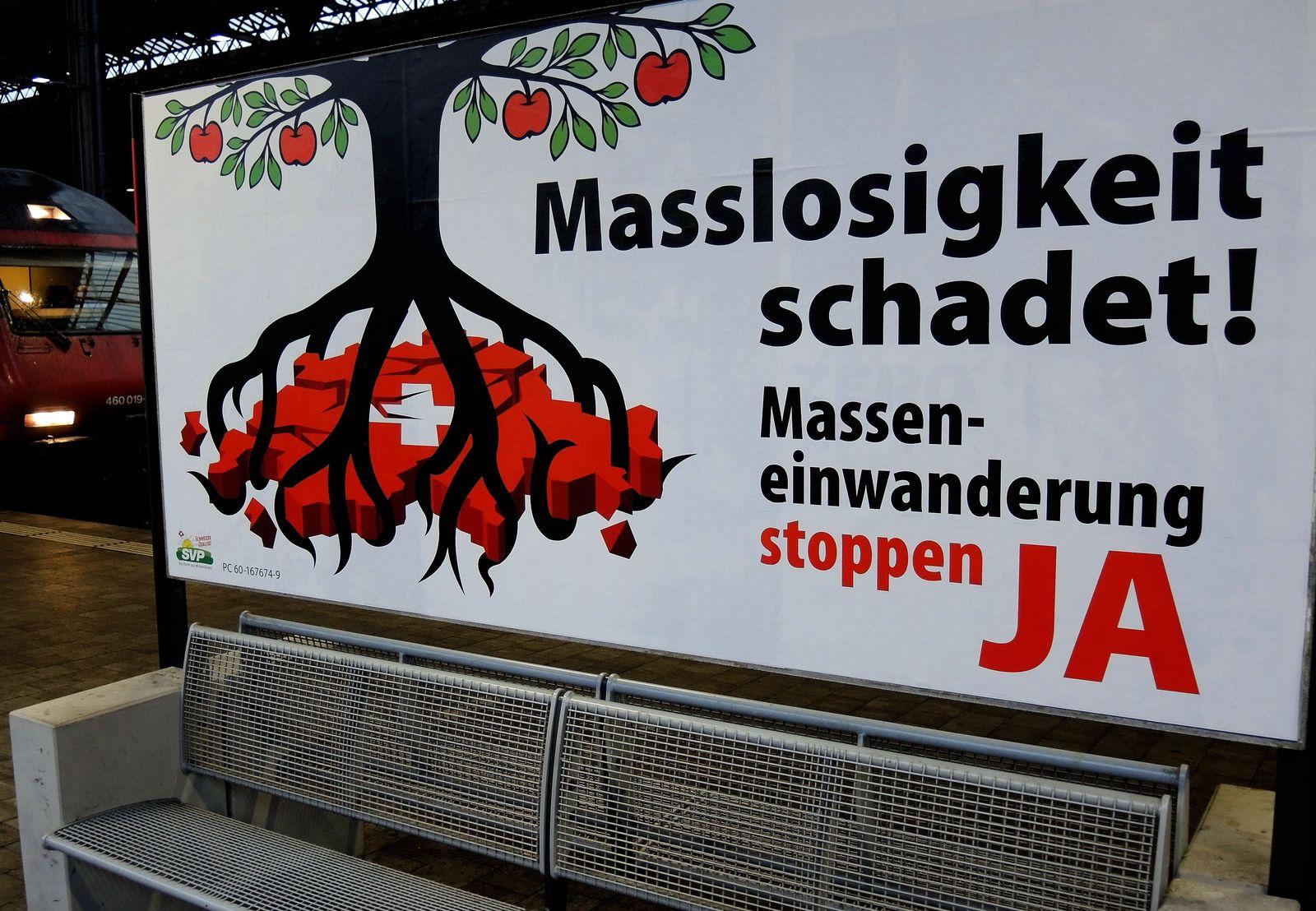 Plakat Initiative gegen Masseneinwanderung Schweiz