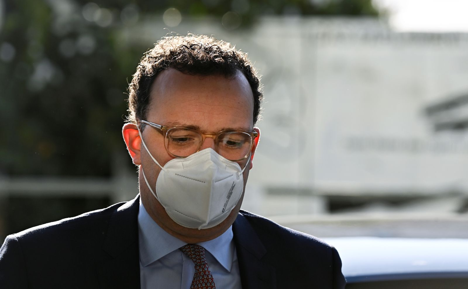 German Health Minister Jens Spahn arrives for a news conference on the coronavirus pandemic situation, in Berlin