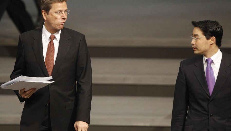 FDP-Chef Westerwelle und Gesundheitsminister Rösler: Geplatztes Bündnis gegen Brüderle?