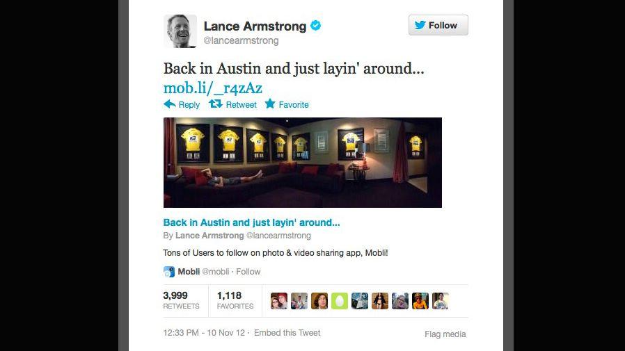 """Armstrong mit Tour-Trikots: """"Zurück in Austin - Zeit zum Ausruhen"""""""
