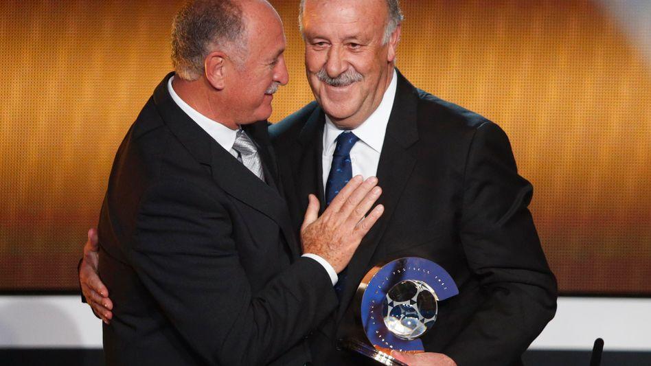 Spaniens Nationalcoach del Bosque (r.): Welttrainer des Jahres 2012