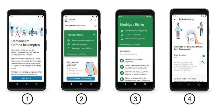 Screens der Corona-Warn-App: So oder sehr ähnlich soll sie auf dem Handy aussehen