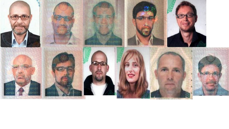 A composite of Dubai police handout photos released on Feb. 15, 2010 showing 11 people suspected of being involved in the murder of Mahmoud al-Mabhouh.