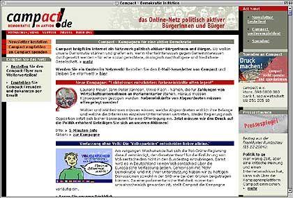 Campact: Kampagnenwebseite für mehr Transparenz und Bürgermitbestimmung
