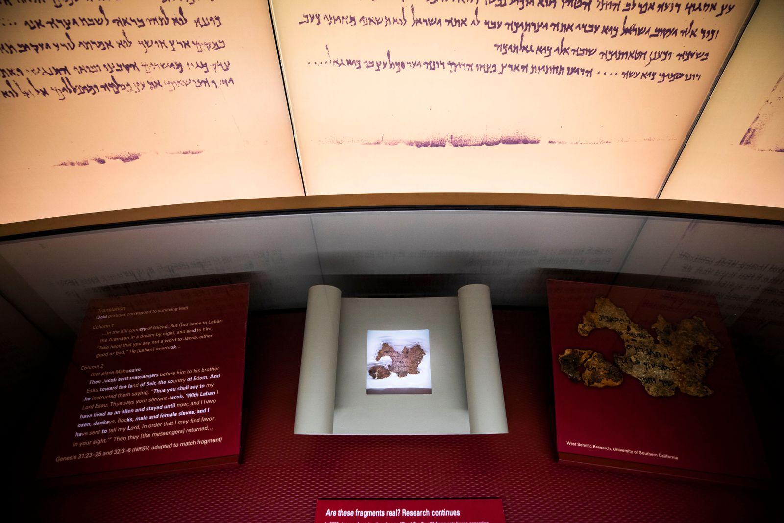EINMALIGE VERWENDUNG Fälschung/ Bible Museum/ Dead Sea Scrools