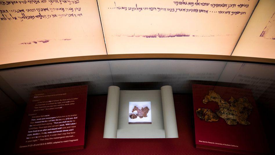 Fragment einer Schriftrolle im Museum of the Bible in Washington