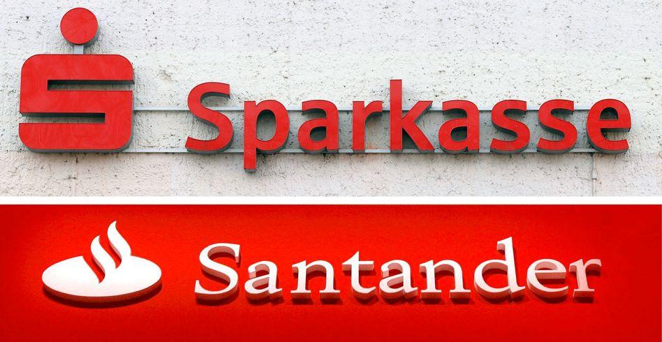 Logos der Sparkassen und Santander